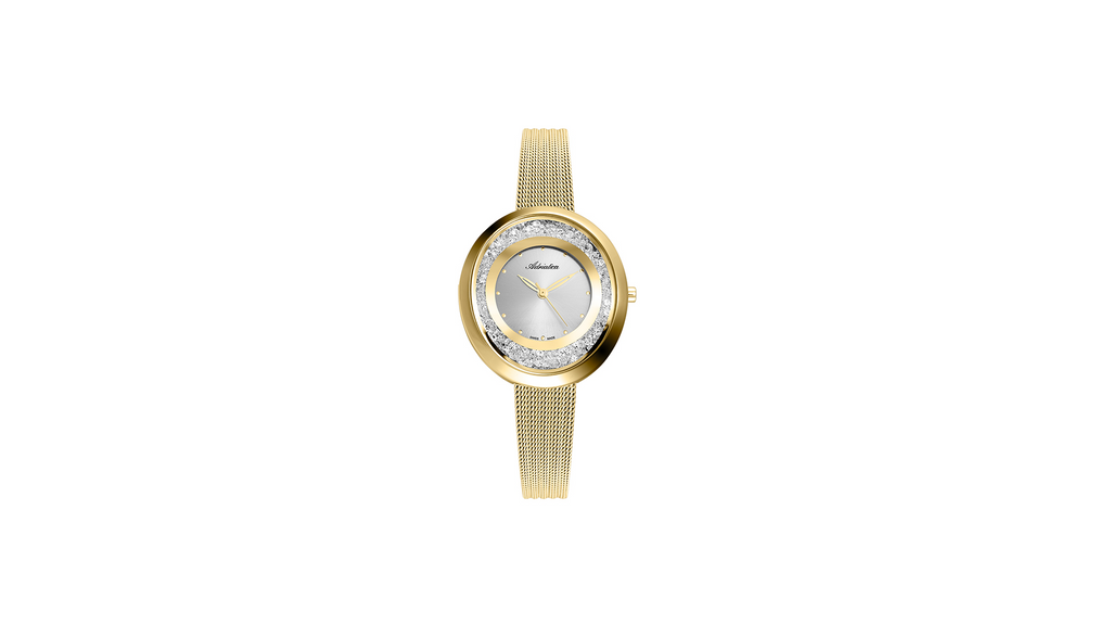 Adriatica Limited Edition Ladies Swiss Made Timepiece - Gold Tone Silver Dial Swarovski Crystals