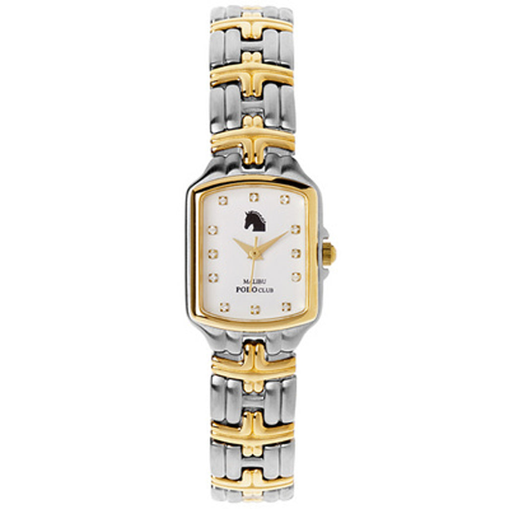 Malibu Polo Club Stainless Steel & 18k Yellow Gold Plated Diamond Tank White Dial
