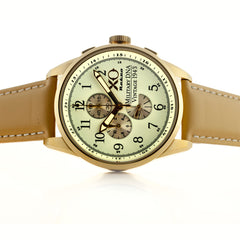 XO Retro Men's Certified 1943 P-38 Lightning Plane DNA White Dial Yellow Gold Tone Tan Strap