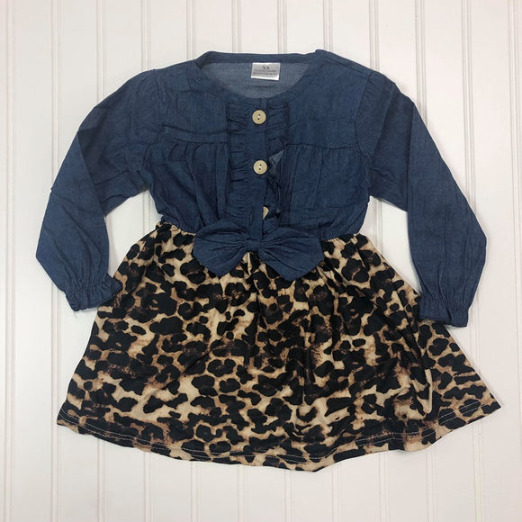 Leopard Denim Princess Dress