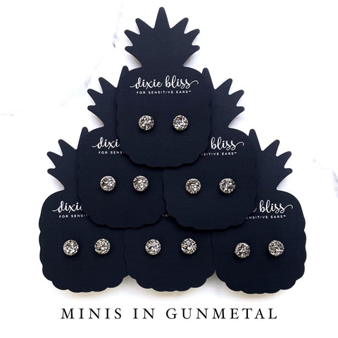 Minis in Gunmetal - Dixie Bliss - Single Stud Earrings