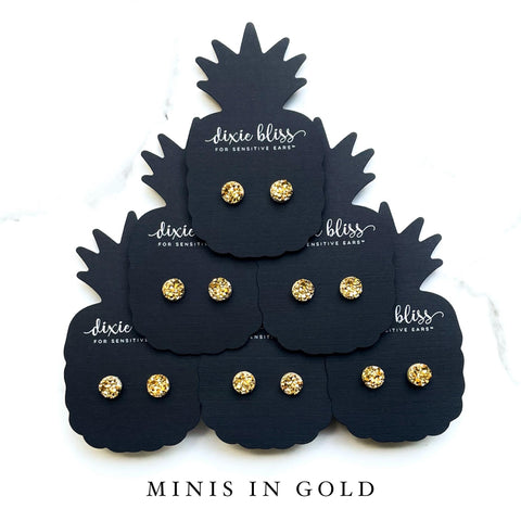 Minis in Gold - Dixie Bliss - Single Stud Earrings