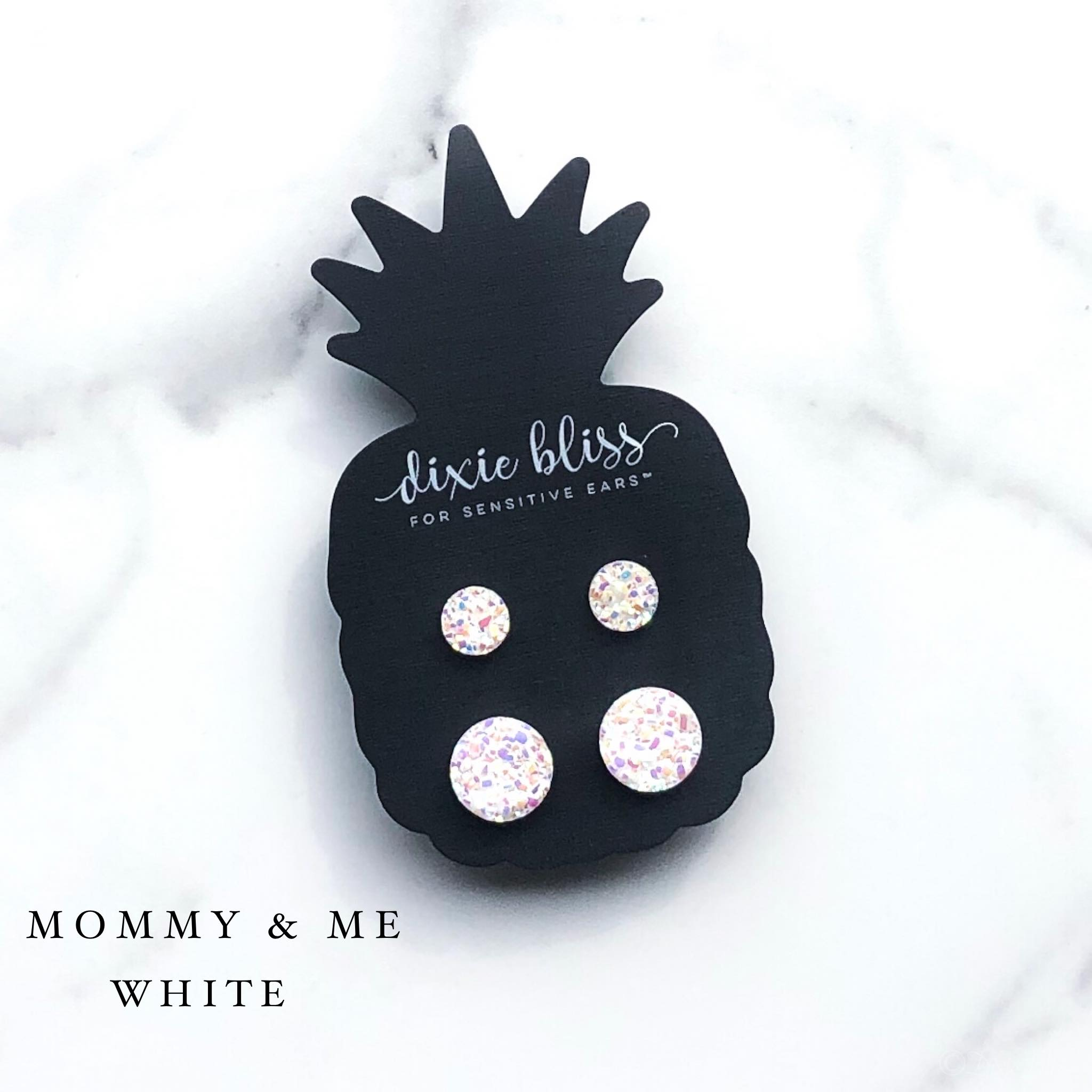 Mommy & Me White - Dixie Bliss - Duo Stud Earring Set