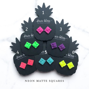 Neon Matte Sqaures Druzy - Dixie Bliss Luxuries