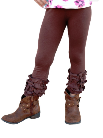 Brown Ruffle Leggings