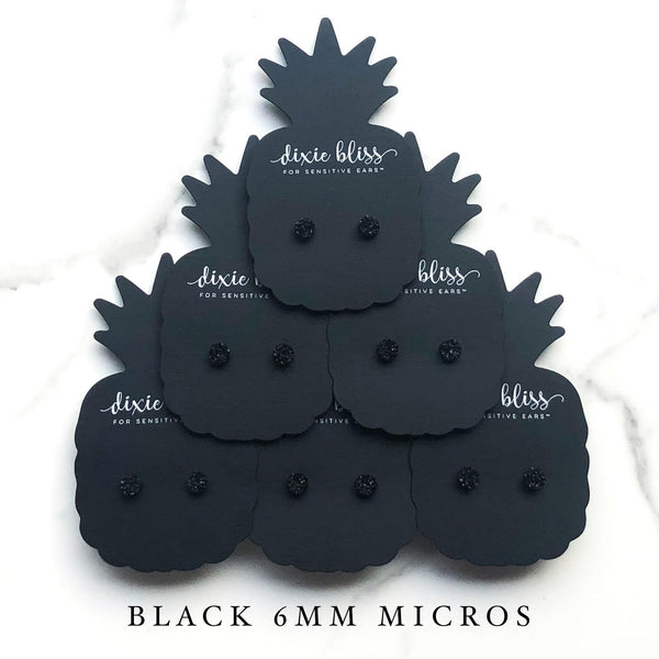 Black Micros - Dixie Bliss - Single Stud Earrings
