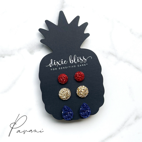 Pavani - Dixie Bliss - Trio Stud Earring Set