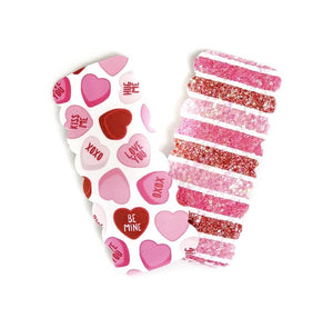 2.5 inch Scallop Snap Clip Pair-Red and Pink Conversation Hearts