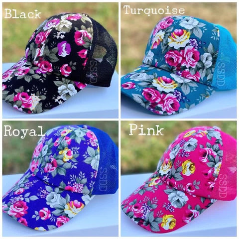 Floral hats - Courtois' Creations{Custom Apparel+Boutique}