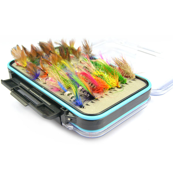 Anmuka 64pcs/sets fly fishing lure set Artificial Insect bait trout fly fishing hooks tackle with case box