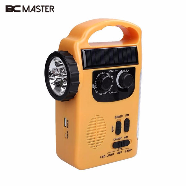 BCMaster AM/FM Radio support Solar Powered Wind Up Emergency LED Flashlight Torch Light