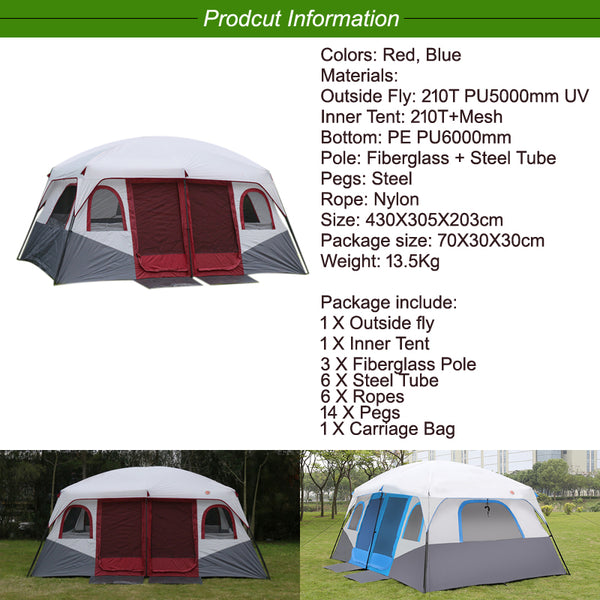 Large Family Camping Tents Waterproof Cabin Outdoor Tent for 8 10 12 Person