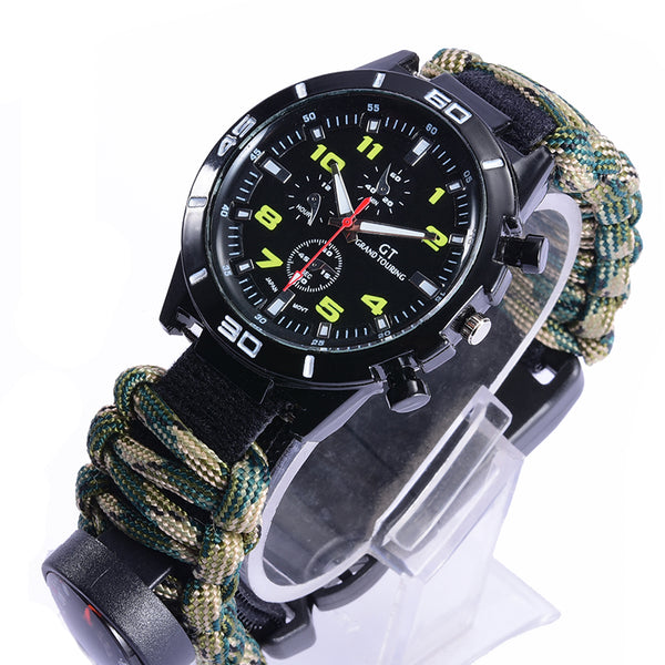 6-in-1 Tactical Multi Outdoor EDC Survival Watch adjustable bracelet compass Rescue Rope paracord Camping equipment Tools