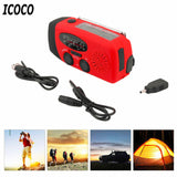 ICOCO 3 in 1 Emergency Charger Flashlight Hand Crank Generator Wind up Solar Dynamo Powered FM/AM Radio Charger LED Flashlight