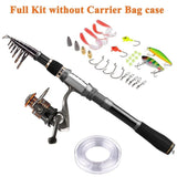 PLUSINNO Telescopic Fishing Rod and Reel Combos FULL Kit, Spinning Fishing Gear Organizer Pole Sets with Line Lures Hooks Reel