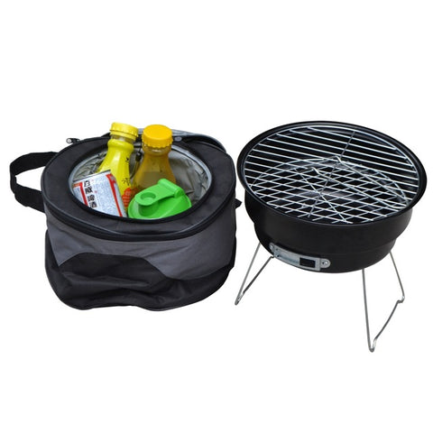 Portable Charcoal BBQ Grill Couple Family Party Outdoor Camping Barbecue Roasting Brazier Cooking Tools With Shoulder Cooler Bag