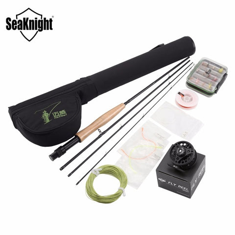 SeaKnight Maxway Fly Fishing Rod Combo Set Kit 2.1M Fly Rod +3/4 Reel+Fly Fishing Main Line +Rod Bag +24pcs Box Fly Lures
