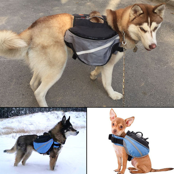 Saddle Bag Dog Backpack Adjustable Pet Carrier Hiking Camping Vest with Pockets
