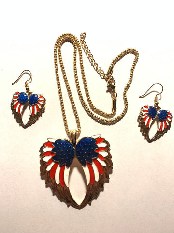 Nostalgia American Flag Military Army Guardian Angel Wings Enamel Jewelry Sets For Women