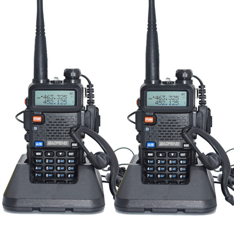 2pcs Baofeng UV-5R Walkie Talkie 128 Dual Band Two Way Radio