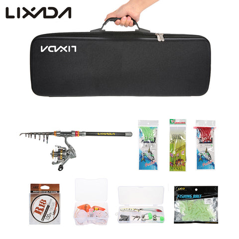 Lixada 2.1/2.4/2.7/3M Telescopic Fishing Rod,Reel,Combo Full Kit