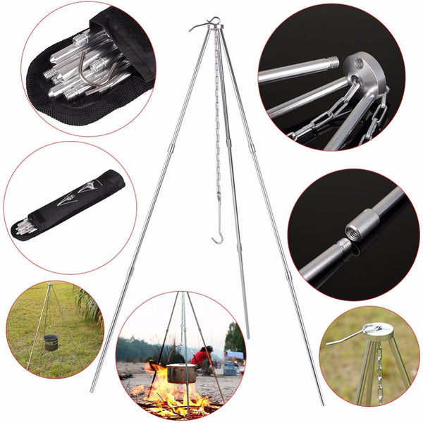 Portable BBQ Grill Tripod Outdoor Camping Campfire Holder