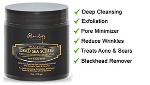 Activated Charcoal Dead Sea Scrub, Pore Minimizer & Reduces Wrinkles,