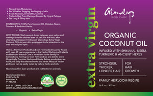 Glamology Coconut Oil For Hair Growth and Herbs Infused with Turmeric and Neem (16 fl. oz.)