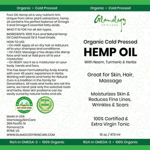 Glamology Organic Cold Pressed HEMP OIL Drops 16 oz (473ml) Supports Functional Calming for Stress Relief, Relaxation, Healthy Sleep Patterns, and Achy Muscles with Extra Virgin Tonic Rich in 3 6 9.