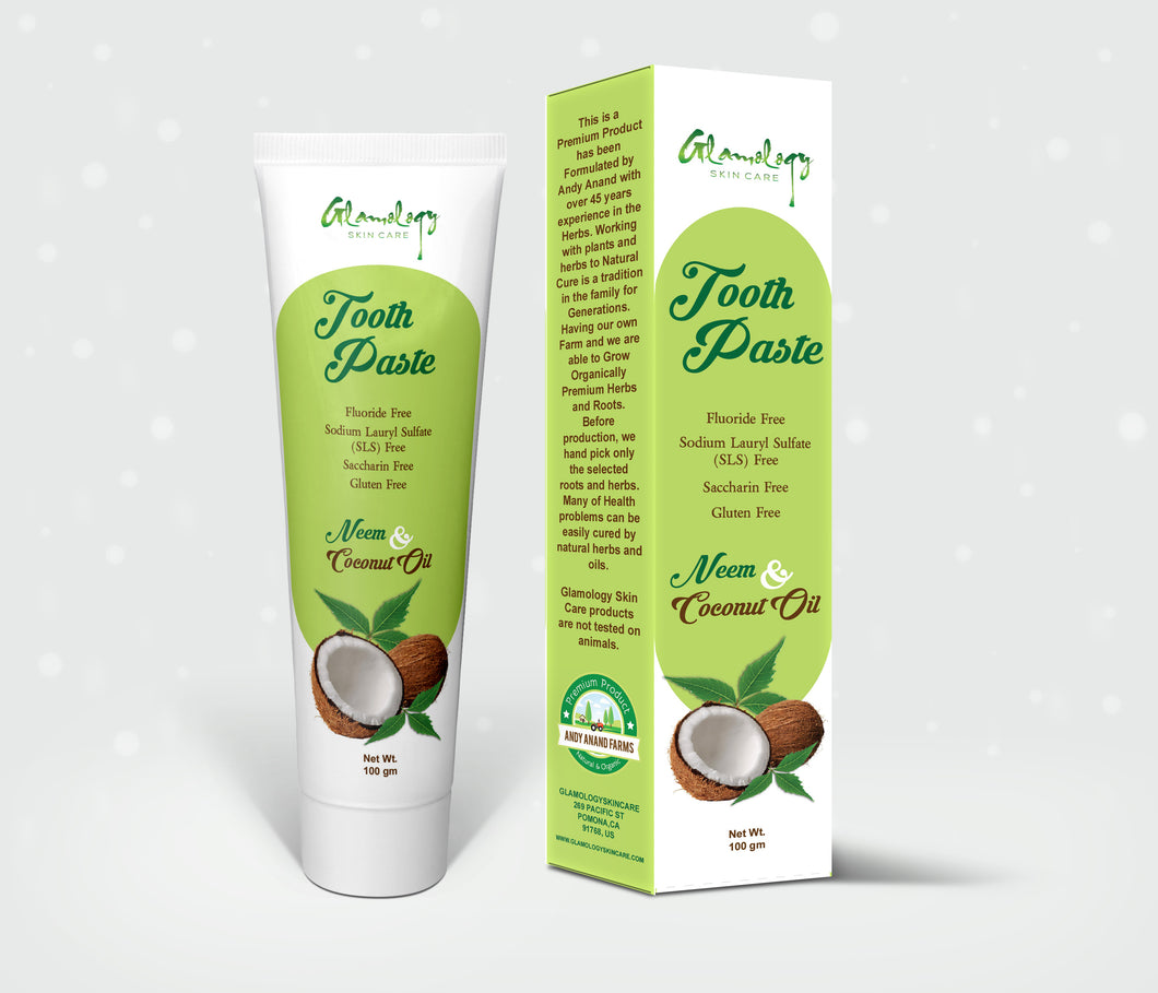 Glamology Whitening Sparkling Neem Toothpaste, Fluoride-free, Antiplaque, Extreme Whitening Advanced gum Protection Toothpaste MADE From COCONUT, NEEM & HERBS. LAB Tested Organic 100% Pure