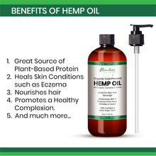 Load image into Gallery viewer, Glamology Organic Cold Pressed HEMP OIL Drops 16 oz (473ml) Supports Functional Calming for Stress Relief, Relaxation, Healthy Sleep Patterns, and Achy Muscles with Extra Virgin Tonic Rich in 3 6 9.