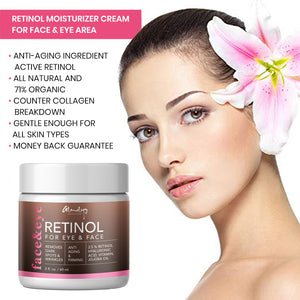 Handmade 100% Natural Retinol Moisturizer Cream for Face and Eye Area