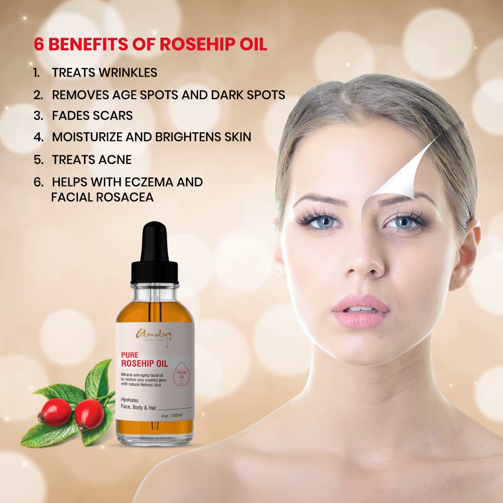 Organic Rosehip Oil  100% Pure Unrefined best for Hair, Skin