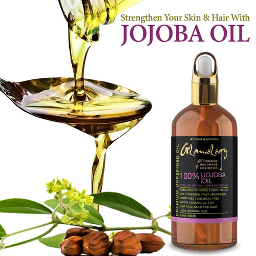 Organic Jojoba Oil for Hair, Face, Nails & Body Base Carrier Oil