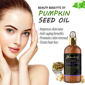 Organic Pumpkin Seed Oil Hair Growth, Nail Care, Lip & Skin