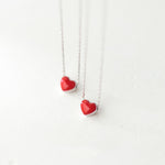 Silver Bonbon Sweet Sterling Silver Enamel Red Love Heart Necklace