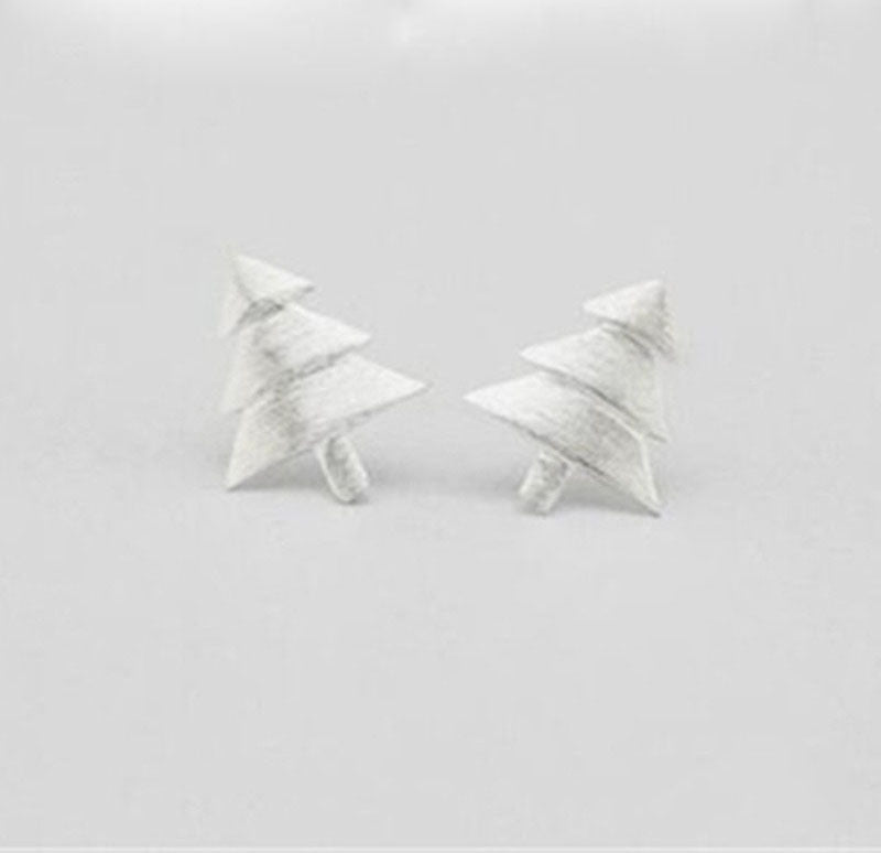 Silver Bonbon Sterling Silver stud earrings Christmas tree silver earrings