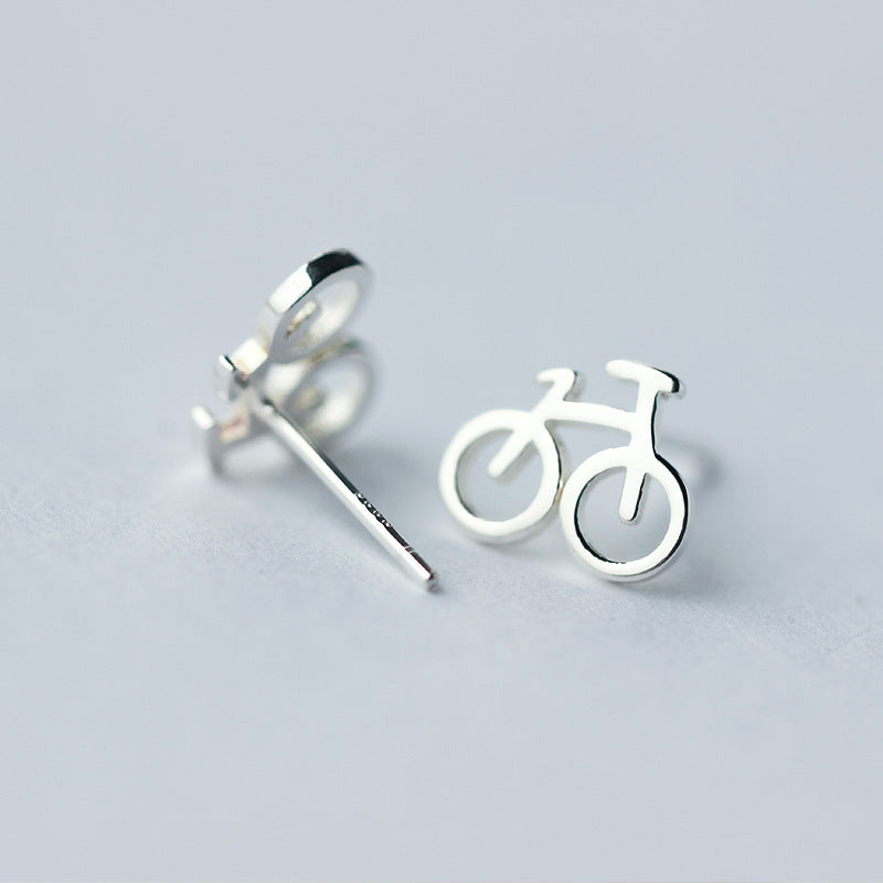 Silver Bonbon Cute Sterling Silver Bike Bicycle Cycle Stud Earrings