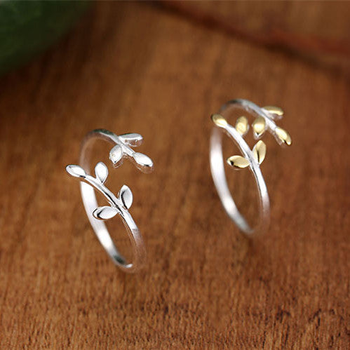 Sterling Silver Tree Leaf Adjustable Rings