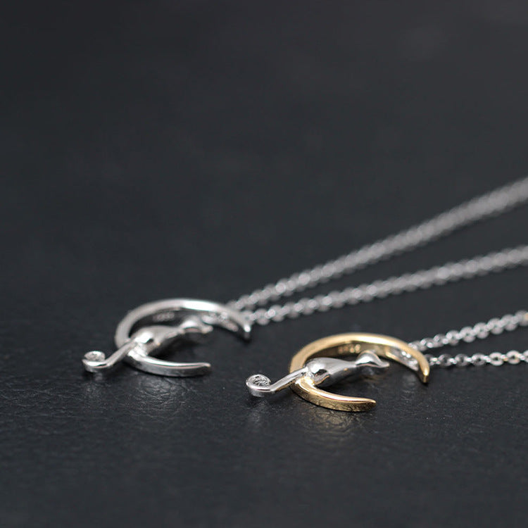 Silver Bonbon Sterling Silver Moon Cat Necklaces