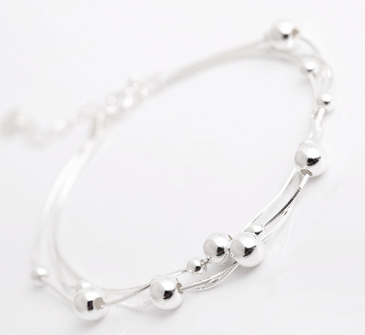 Silver Bonbon Sterling Silver Multilayer Bead Chain Bracelet