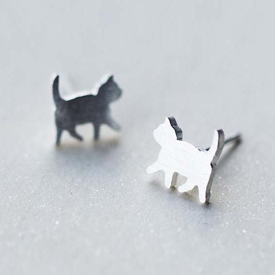 Silver Bonbon Sterling Silver Cute Walking Cat Earrings