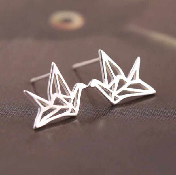 Silver Bonbon  Sterling Silver Simple Paper Crane Stud Earrings