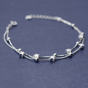 Silver Bonbon Sterling Silver Double Box Chain Stars Layer Bracelet