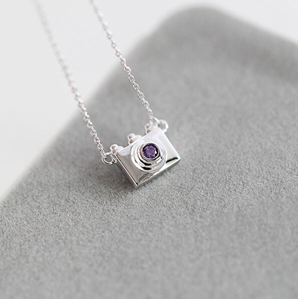 Silver Bonbon Mini Camera Sterling Silver and Crystal Necklace