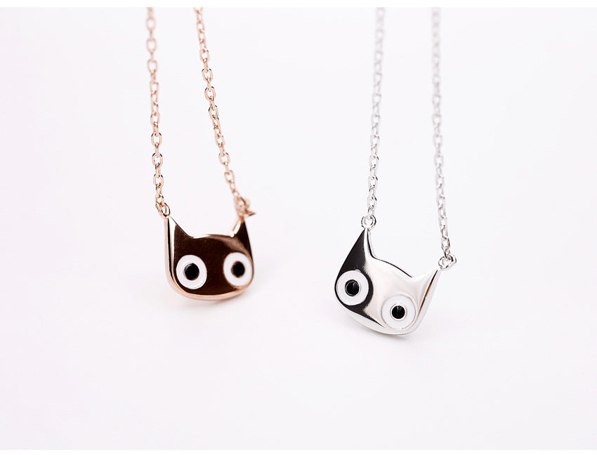 Silver Bonbon  Sterling Silver Big Eyes Cat Necklace