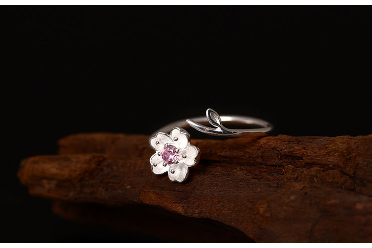 Silver Bonbon Designer Pink Cherry Blossoms  Ring