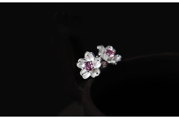 Silver Bonbon Cherry Blossoms Stud Earrings