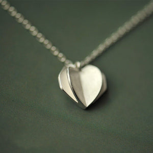 Silver Bonbon Sweet Sterling Silver Romantic Origami Heart Shape Pendant Necklace