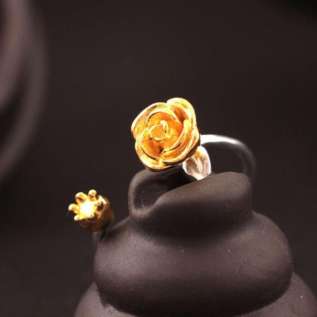 Silver Bonbon Designer Sterling Silver Rose Flower Open Ring